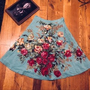 Anthropologie Floral Beaded Skirt